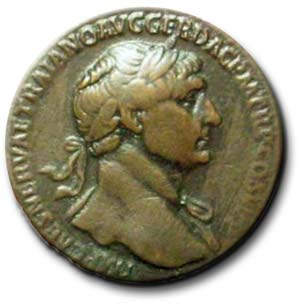 Head of Traianic Sestertius showing Emperor Trajan