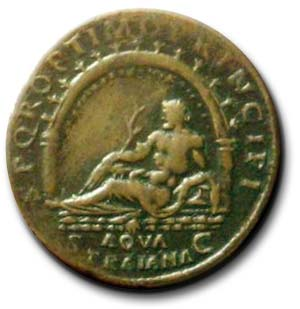 Reverse of Traianic Sestertius showing Santa Fiora Aqueduct Source